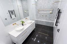 The Block week 3 room reveals: master bathrooms - The Interiors Addict Bathroom Inspo, Bathroom Styling, Bathroom Interior Design, Bathroom Inspiration, Bathroom Ideas, Bathroom Designs, Navy Bathroom, Narrow Bathroom, Bathroom Organization