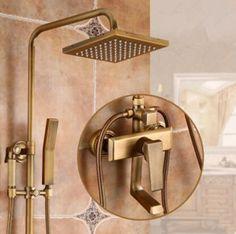 Antique Brass Mixer Square Head Rainfall Shower Tap Set with Bidet Tap TSA698 Shower Taps, Shower Set, Waterfall Taps, Brass Shower Head, Plating Techniques, Water Spout, Wall Mount Faucet, Rainfall Shower, Lighting System