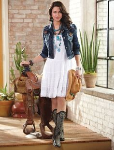 Pin Tuck Dress and Denim Jacket. Love the whole outfit adorable. Country Wedding Guest Dress, Country Wedding Attire, Wedding Dress, Country Weddings, Wedding Outfits, Country Dresses, Western Dresses, Country Outfits, Western Outfits