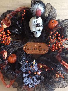 "30"" Halloween Deco Mesh Wreath with Vulture. $129.00, via Etsy."