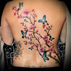 Floral Back Tattoos, Butterfly Tattoos For Women, Girly Tattoos, Flower Tattoos, Vine Tattoos, Body Art Tattoos, Sleeve Tattoos, Tatoos, Tattoo Son