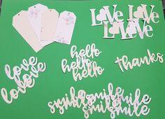 21 scritte in carta vinilica per scrapbooking - fustellati - amore - ciao - sorriso