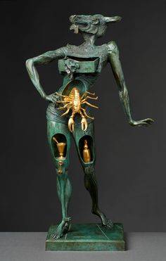 """Salvador Dali, Spanish 1904-1989 """"Le Minotaure"""" (The Minotaur, Der Minotaurus), foundry Valsuani; bronze with green and gold patina with integral plinth, signed, with foundry stamp Cire Perdue C Valsuani, and numbered 10/100, 78cm high, Note: certificate of authenticity on file"""