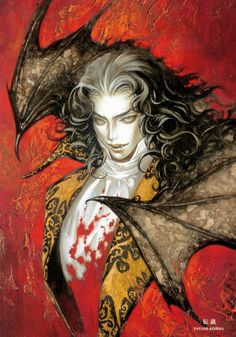 Castlevania art by Ayami Kojima (a Japanese game and concept artist who is best known for her work on the Castlevania series of video games with Konami) Castlevania Dracula, Castlevania Anime, Gothic Vampire, Vampire Art, Castlevania Wallpaper, Dark Fantasy, Fantasy Art, Vampires And Werewolves, Goth Art