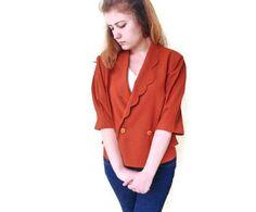 Crop Blazer Womens Vintage brunt orange Double Breasted Bronze Cropped Tuxedo Jacket by boutiqueseragun on Etsy