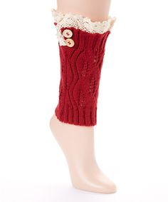 Look at this Red Leaf-Knit Leg Warmers on #zulily today!