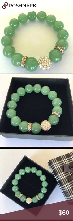 Handmade Green Agate Bracelet With Swarovski det. 🌹Original handmade bracelet from green Agate (Natural Gemstone) with real Swarovski details 💫                                                         🌹Made with stretch material. 6.5 in but can be made any size‼️                                             🌹For all my jewelry i use only Real  Gemstones 💎and hight quality material‼️       🌹Every piece comes in a beautiful box 🎁 Katherine Art Other