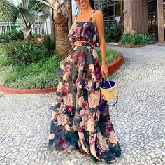 Women Sexy Printed Colour Sling Two Piece High Waist Dress . Read more The post Women Sexy Printed Colour Sling Two Piece High Waist Dress appeared first on How To Be Trendy. Casual Dresses, Fashion Dresses, Summer Dresses, Maxi Dresses, Vacation Dresses, Casual Outfits, 1950s Dresses, Skirt Outfits, Cheap Dresses