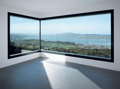 SUBTILITAS Villa K, Gate Design, House Design, Modern Bungalow Exterior, Shaped Windows, Window Fitting, Solar Shades, Dormer Windows, Beaded Curtains