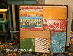 Love these scrapbook paper and wood wall hangings!