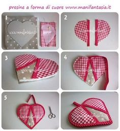 presine a forma di cuore idee facili per la festa della mamma - manifantasia Easy Sewing Projects, Sewing Hacks, Sewing Crafts, Quilt Patterns, Sewing Patterns, Quilted Potholders, Sewing Aprons, Creation Couture, Sewing For Beginners