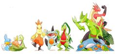 Starter Pokémon from the Hoenn Region Pokemon Fan Art, Mega Pokemon, Pokemon Stuff, Pokemon Champions, Pokemon Starters, Pokemon Pocket, Fanart, Mudkip, I Love Games
