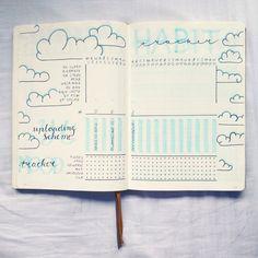 @bujo.by.marieke Bullet journal habit tracker mood tracker cloud theme