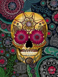 Skull Reaper psychedelic hippie  Art Poster Print Postcard ☮~ღ~*~*✿⊱  レ o √ 乇 !! ~