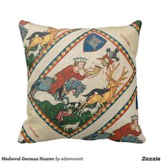 Medieval German Hunter Throw Pillow