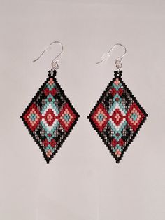 Seed Beaded Diamond Shaped Tribal Earrings by Calisi on Etsy