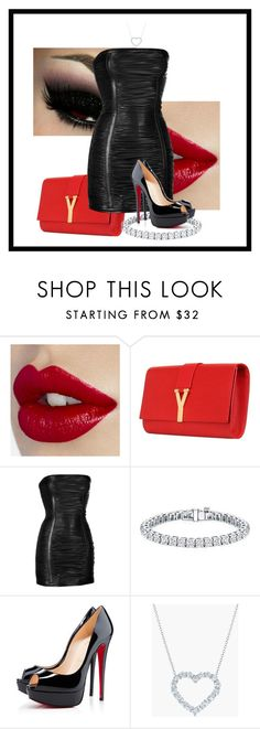 """""""Untitled #46"""" by xan86 ❤ liked on Polyvore featuring Yves Saint Laurent, Balmain, Auriya, Christian Louboutin and Kwiat"""