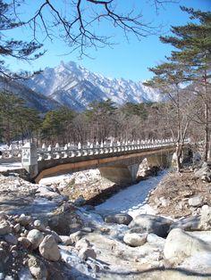 Seoraksan National Park, Gangwondo, South Korea New Travel, Travel Alone, Paris Travel, Area Urbana, Seoraksan National Park, Living In Korea, South Korea Travel, Pedestrian Bridge, Travel Destinations