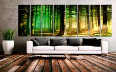 "XXLARGE 30""x 96"" 8 Panels Art Canvas Print beautiful Nature Sunset Forest Trees Sun rays Wall Home Decor interior (framed 1.5""depth)"