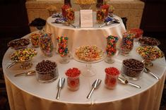 Idea for a round ice cream bar. Ice cream scooper at one table, self serve topping next to it. The candy table-I would love to have a table full of sweets at my wedding! Wedding Candy Table, Wedding Reception Food, Wedding Receptions, Wedding Favors, Dessert Bars, Dessert Table, A Table, Sundae Bar, Ice Cream Social
