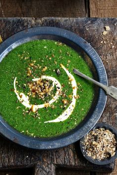 Spinach, Broccoflower + Coriander Soup with Yogurt Feta Swirl + Dukkah