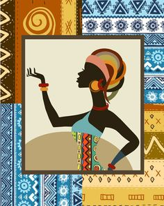 Afrocentric Woman,African Woman Painting, African Art Print, African Ethnic Traditional Pattern Design, Afrocentric Decor  $15