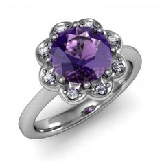 Amethyst & Diamond Scrolled Detailed Ring set in 18K White Gold. (8mm) $720.00