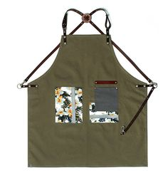 Premium Gift for woman and man Chef Works Handmade Apron Japanese Cross Back - flower pattern canvas leather apron khaki Chef Dress, Farmer Outfit, Barber Apron, Apron Tutorial, Work Aprons, Leather Apron, Aprons For Men, Apron Designs, Couture Sewing