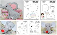 PDF Elephant Sewing Pattern & Tutorial — DIY Jungle Animal Rag Doll, Soft / Stuffed Cloth Toy, or Safari Themed Nursery Decor Sewing Stuffed Animals, Stuffed Animal Patterns, Felt Diy, Felt Crafts, Safari Theme Nursery, Nursery Decor, Themed Nursery, Nursery Themes, Felt Doll Patterns