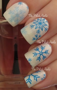 Blue snowflake winter nail art
