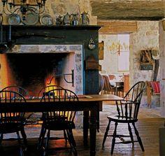 large European fireplace
