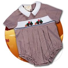 Payloader Brown Gingham Smocked Boy Bubble 14F 5112BUB