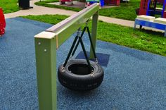 Single To-Fro Glider  This tire swing is created for safe and fun play for pre-toddlers and toddlers.