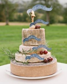 A wedding cake made out of cheese. Now that's my kind of cake.