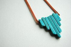 Etsy - Sparklefarm - Turquoise Statement Necklace - Handmade Jewelry - Free Shipping in the US - Summer Fashion