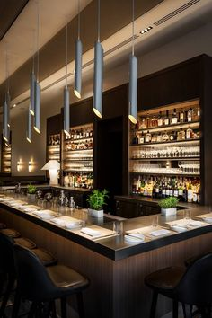 restaurant design Wine Bar - Nougatine at Jean Georges at Trump International Hotel amp; Tower New York Central Park Design Bar Restaurant, Deco Restaurant, Restaurant Lounge, Restaurant Lighting, Restaurant Layout, Bar Lounge, Lounge Design, Hotel Lounge, Hotel Pool