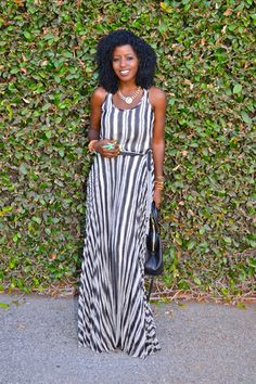 Style Pantry | Parker Striped Pleated Silk Maxi Dress