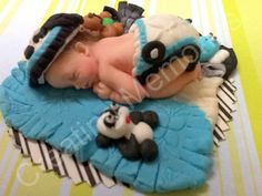 BABY SHOWER Baby Cake Topper Blue black and White Outfit Toys and Blanket Baby Boy. Gumpaste/Fondant baby cake toppers, baby showers