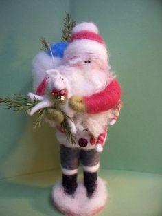 Shepherd Santa Felted Wool Ornament - NEW for 2012. $82.00, via Etsy.