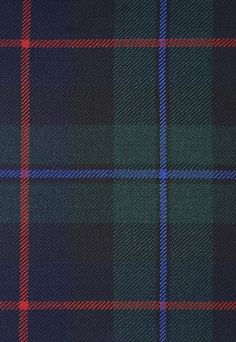 Campbell of Cawdor Tartan Fabric Blue and Green wool tartan with blue and red accent throughout. Suitable for curtains, cushions and upholstery.