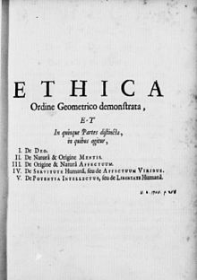 """The opening page of Spinoza's magnum opus, Ethics; """"I do not believe in immortality of the individual, and I consider ethics to be an exclusively human concern with no superhuman authority behind it."""" -     Albert Einstein;      Read more at http://www.brainyquote.com/quotes/quotes/a/alberteins148873.html#LOrT3KuwC6rk1Kpk.99 ;"""