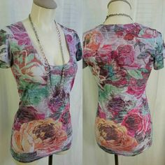"""Prettiest floral top ever! HIP - Happening in the Present Long Floral Scoop Neck Tee  Size Small or Extra-Small   50% Cotton,? 50% Polyester  Bust 33"""" flat + stretch to 36"""" Waist 29"""" - 32"""" Bottom Opening 34"""" -39"""" Length from top of shoulder to bottom edge 26.5""""  Gently preowned, flawless condition from nonsmoking pet free household. Happening in the Present  Tops Blouses"""