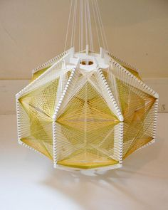 Sputnik Lampshade Green & Gold by Julie Lansom Deco Design, Lamp Design, Weaving Process, Farmhouse Lighting, Lamp Shades, String Art, Green And Gold, Contemporary Design, Ceiling Lights