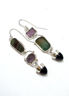 Beautiful Asymmetrical Earrings with by laurastamperdesigns
