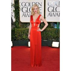 January Jones Red Sexy Discount Formal Dress at 2011 Golden Globe Awards Red Carpet