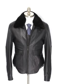 Check out that nutria fur collar, in this Brioni black leather bomber jacket.  |  Get at it! http://www.frieschskys.com/outerwear  |  #frieschskys #mensfashion #fashion #mensstyle #style #moda #menswear #dapper #stylish #MadeInItaly #Italy #couture #highfashion #designer #shopping