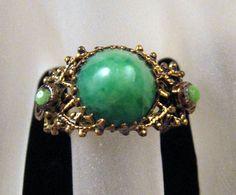 Tribal Ring Adjustable Green Peking Glass by GrapenutGlitzJewelry