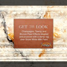 Get the Look - Champagne, Tawny and Bronze Pearl Effects over Snow White Milk Paint Mud Paint, Paint Stain, Paint Finishes, Furniture Painting Techniques, Paint Furniture, Refinished Furniture, Furniture Refinishing, Chalk Paint Projects, Paint Ideas
