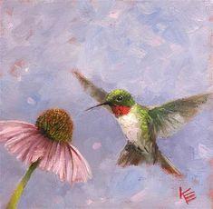 "Daily Paintworks - ""Fluttering"" - Original Fine Art for Sale - © Krista Eaton Bird Paintings On Canvas, Small Paintings, Hummingbird Art, Spring Painting, Hippie Art, Bird Pictures, Watercolor Bird, Acrylic Art, Flower Art"