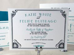 Letterpress Wedding Invitation Suite - Art Deco Inspired on Etsy, $10.72 AUD